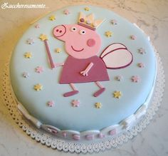 Peppa Pig Cake Ideas - Princess Cake (By Macetes de Mãe) Birthday Party Cake Tortas Peppa Pig, Bolo Da Peppa Pig, Peppa Pig Birthday Cake, Birthday Cake Girls, Fondant Cakes, Cupcake Cakes, Pig Cakes, Thomas Cakes, Spring Desserts