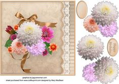 Delightful Dahlias Lacy Border Card Front on Craftsuprint - View Now!