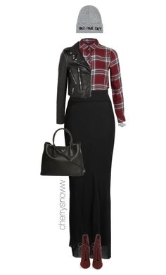 """Oxblood plaid shirt and boots"" by cherrysnoww ❤ liked on Polyvore featuring Miss Selfridge, Rick Owens, Gianvito Rossi, Yves Saint Laurent, Prada, Marc by Marc Jacobs and Local Heroes"