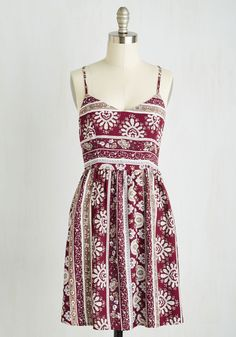 Sunporch Sangria Dress. With homemade bevvies and this breezy sundress, youre ready to bask in a bright afternoon with good company! #red #modcloth