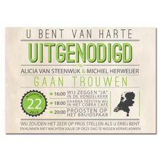 Trouwkaart: Vintage/Green (Groot Formaat)