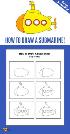 How To Draw a Submarine step by step for kids