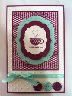 Stampin up teacup card Card Making Inspiration, Making Ideas, Coffee Cards, Scrapbook Cards, Scrapbooking, Cards For Friends, Love Cards, Card Tags, Creative Cards