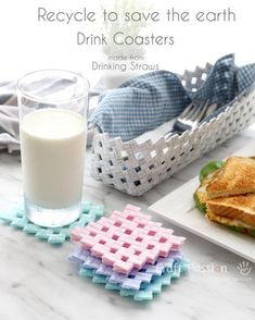Reduce, Reuse, Recycle Recycle drinking straws into Drink Coasters Tutorial comes with video recycle DIY tutorial video 183943966016485232 Plastic Straw Crafts, Diy Straw Crafts, Diy Crafts With Straws, Drinking Straw Crafts, Straw Art, Fun Craft, Diy Inspiration, Plastic Waste, Plastic Recycling