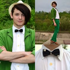 Green Vintage Suit, Handmade Tie