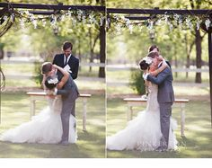 Venue at the Grove- You may kiss the bride!!! Stunning outdoor wedding!