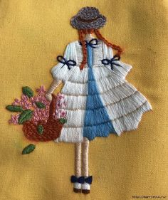 """Beautiful embroidery for a girl's handbag- Красивая вышивка для сумочки девочки Embroidery """"Girl with a basket … - Hand Embroidery Projects, Basic Embroidery Stitches, Hand Embroidery Videos, Embroidery Flowers Pattern, Creative Embroidery, Hand Embroidery Patterns, Embroidery Kits, Diy Broderie, Couture"""