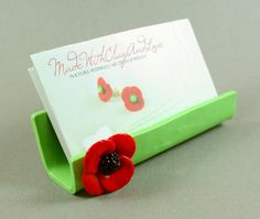 polymer clay business card holder | ... Sculpted Business Card Holder - Red Poppy On Honeydew - Polymer Clay