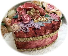 Side View Burgandy Beaded Decorative Heart Trinket Keepsake Box from Roses and Teacups