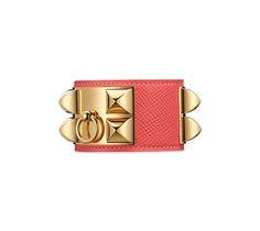 15a3ec3e6657 Collier de Chien Hermes iconic leather bracelet (size S) Jaipur pink epsom  calfskin Gold