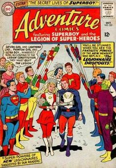 Adventure Comics Featuring Superboy (Clark Kent) and The Legion of Superheroes Vintage Comic Book Cover. Old Comic Books, Vintage Comic Books, Vintage Comics, Comic Book Covers, Vintage Magazines, Legion Of Superheroes, Marvel E Dc, Marvel Comics, Comics