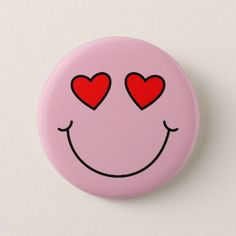 Valentine Heart Eyes Emoji Pinback Button - valentines day gifts gift idea diy customize special couple love