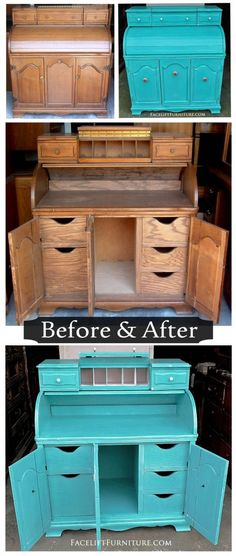 Turquoise Roll Top Desk ~ Before & After. Find more painted, glazed & distressed inspiration on our Pinterest boards, or on the Facelift Furniture DIY blog.