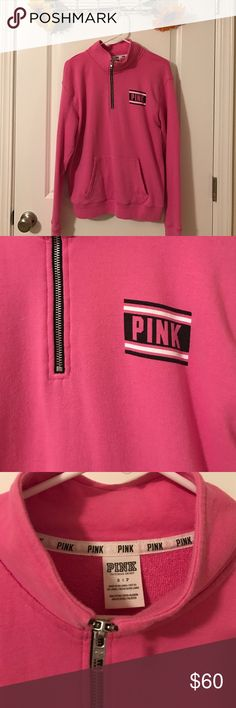 VS Pink Half Zip Sweater Worn a handful of times. Lightweight. No flaws. No trades. Don't ask. PINK Victoria's Secret Sweaters