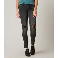 Flying Monkey Ankle Skinny Stretch Jean ($70) ❤ liked on Polyvore featuring jeans, blue, ripped jeans, stretch skinny jeans, blue ripped jeans, blue skinny jeans and denim jeans