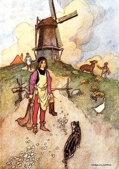 """Puss n Boots """"You have but to give me a sack and a pair of boots such as gentlemen wear when they go shooting""""by Warwick Goble"""