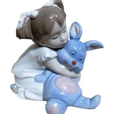 #Vintage cure for the #MondayBlues online at www.rubylane.com @rubylanecom -- Nao Line LLadro Sculpture of Young Girl with Blue Bunny