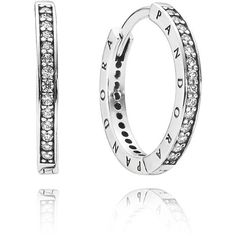 PANDORA  sterling silver pave hoops with engraved logos || I love this style of clasp #pandora #earrings #hoops