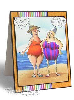 Selma & Gladys Set (Sku#4211) Art Impressions Golden Oldies beach card.
