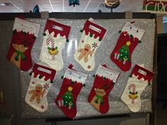 The stockings stuck to the glitter paper without tape! Office Christmas, Christmas Stockings, Tape, Glitter, Holiday Decor, Home Decor, Needlepoint Christmas Stockings, Decoration Home, Room Decor