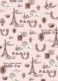 Decoupage Vintage, Decoupage Paper, Paris Party, Paris Theme, Marie Stuart, Pink Paris, Paris Images, Paris Pics, Vintage Wrapping Paper
