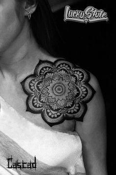 http://tattooideas247.com/mandala-shoulder-2/ Awesome Mandala #BlackInk, #Dotwork, #IlyaKandaurov, #Mandala, #Shoulder