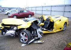 This Ferrari 360 Spyder was destroyed when he crashed it into a palm . Pumas, Costa Rica, Ferrari 360, Car Repair Service, Vehicle Repair, Yellow Car, Expensive Cars, Car Wallpapers, Exotic Cars