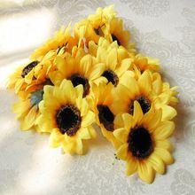 100 unids/lote 7 CM diámetro girasol cabeza hechos a mano bricolaje coche de la boda decoración del partido decoración de la flor de regalo(China (Mainland))