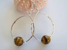 Tiger Eye Gemstone Silver Hoop Earrings - Item E2073 by Joannsfortheluvofit on Etsy