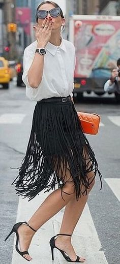 A Button-Up Tucked Into a Fringed Skirt #button