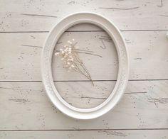 White Oval Frame Ornate Frame French Farmhouse Vintage Style Wedding Shabby Chic Oval Frame via Etsy