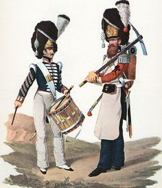 Drummer and Guastatore. Royal Guard. Kingdom of two Sicilies1832