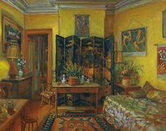 """Margaret Olley (Australian, 1923 - 2011) - """"Yellow Room, Evening"""", 1995 - Oil on composition board"""