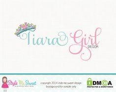 Tiara Logo Crown Logo Boutique Logo Premade by stylemesweetdesign, $40.00