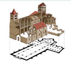Planta cruz latina iglesia románica.