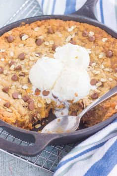 You won't be able to resist this warm, thick, and fudgy Peanut Butter Chocolate ChipSkillet Cookie. Packed with creamy peanut butter, hearty oats, and chocolate chips, this cookie is packed with flavor and is perfect when served with a big scoop of vanilla ice cream!