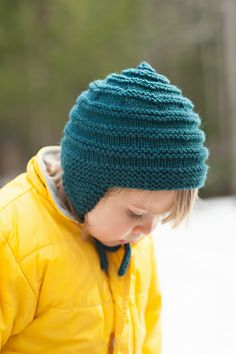 Immie wearing Hats for All pattern by Carrie Bostick Hoge in Quince & Co. Lark, published in Taproot Magazine, Issue 8:: Reclaim