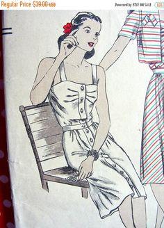 Sale:) RARE * 1940s  Vogue  Pattern 5175  -  Ladies' Sun-Back Dress and Bolero   - Bust 34 * FACTORY FOLDED di anne8865 su Etsy https://www.etsy.com/it/listing/240253256/sale-rare-1940s-vogue-pattern-5175