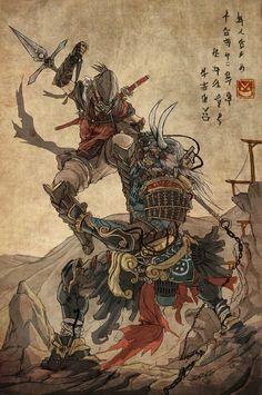 latanieredecyberwolf: To Deny a Deity (Ukiyo-e Version) by Steven Syre (sXeven)