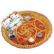 Rakhi thali with set of 2 Kundan work rakhis Raksha Bandhan Gifts, Rakhi Gifts, Holiday Decor