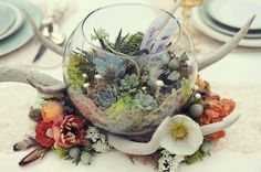 Succulent terrarium wedding centerpiece | Super Succulents: Replantable Flowers For Your Wedding Decor | Green Bride Guide