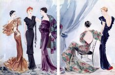 vintage fashion illustration, chanel lanvin gowns
