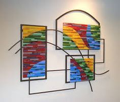 Geometric Fused glass and metal wall sculpture - Mn Artists Glass Artwork, Sea Glass Art, Glass Wall Art, Window Glass, Metal Wall Sculpture, Wall Sculptures, Stained Glass Panels, Stained Glass Art, Fused Glass Plates