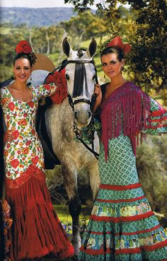Two women with horse from Andalusia in Spain - what gorgeous dresses!
