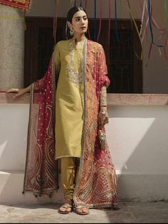 Dholki or mayun outfit for brides side Pakistani Formal Dresses, Pakistani Wedding Outfits, Pakistani Dress Design, Indian Dresses, Indian Outfits, Eastern Dresses, Pakistani Couture, Desi Wear, Desi Clothes
