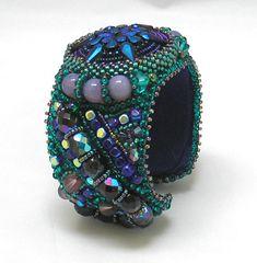 CLEARANCE Bead Embroidery Bracelet Blue Button by by HannahRachel