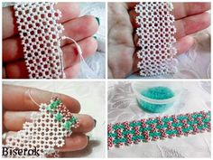 how to weave mesh bracelet Beaded Beads, Beaded Braclets, Beaded Cuff Bracelet, Beading Patterns Free, Beaded Jewelry Patterns, Seed Bead Jewelry, Bead Jewellery, Beading Projects, Beading Tutorials