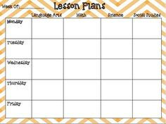 Weekly Lesson Plan Template With Standards Elementary
