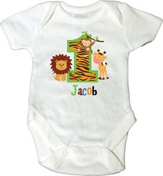 1st Birthday Bodysuit with Jungle Theme