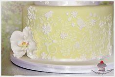 July Cupcakes stenciled cake Elegant Wedding Cakes, Beautiful Wedding Cakes, Wedding Cake Designs, Cake Stencil, Stencils, Cake Cookies, Cupcake Cakes, Cupcakes, Macaroon Cake